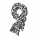 Michaelis Sjaal geweven blauw/groen print