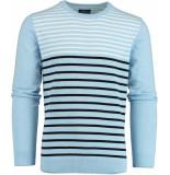 Bos Bright Blue Ian r-neck pullover stripes 20105ia05bo/210 l.blue
