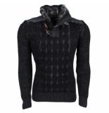 Geographical Norway trendy grof gebreide heren trui met teddy gevoerde kraag fissure - zwart