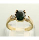 Christian Gouden ring met groene saffier geel goud