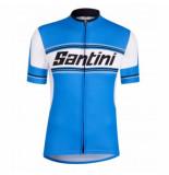 Santini Fietsshirt tau short sleeve printed jersey blue blauw