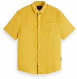 Scotch & Soda Shortsleeve garment linen shirt geel
