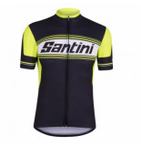 Santini Fietsshirt tau short sleeve printed jersey black zwart
