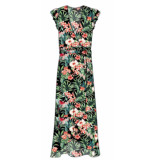 Colourful Rebel 8346 ava flower maxi wrap dress black/ red -