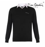 Pierre Cardin heren v-hals trui met overhemdkraag - zwart