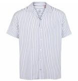 Kronstadt Heren overhemd cuba korte mouw gestreept regular fit wit