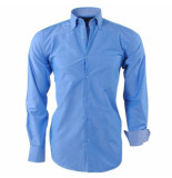 Ambassador ongetailleerd heren overhemd motief in de kraag borstzak -