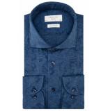 Profuomo Sky blue slim fit knitted overhemd met lange mouwen