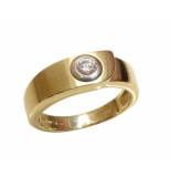 Christian Gouden cachet ring met diamant geel goud
