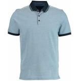 Bos Bright Blue Paddy polo fine tricolore piq 19108pa29sb/268 jeans blue blauw