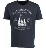 Bos Bright Blue Blake t-shirt placed print 19108bl45/290 navy blauw