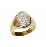 Christian Gouden diamanten cachet ring geel goud