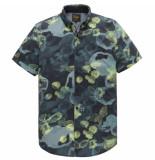 PME Legend Psis204240 5287 short sleeve shirt all-over print on jersey dark sapphire blauw
