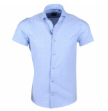 Montazinni heren korte mouw overhemd adamo - blauw