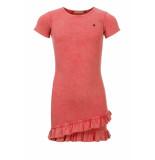 Looxs Revolution Roze rib jersey jurkje met ruffle voor meisjes in de kleur