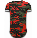 Tony Backer Known camouflage t-shirt long fit rood