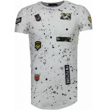 Justing Military patches paint splash t-shirt