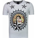 Local Fanatic Holy mary rhinestone t-shirt wit