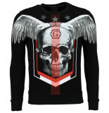 Enos Rhinestone trui doodskop sweater