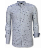 Tony Backer E overhemden slim fit blauw