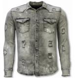 True Rise Denim shirt slim fit damaged allover