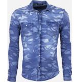 Daniele Volpe Denim slim fit army print blauw