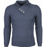 Justing Casual trui colkraag breigoed design knopen