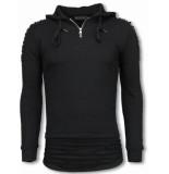 Justing Ripped shoulder long fit hoodie