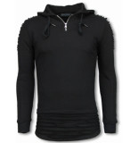 Justing Ripped shoulder long fit hoodie