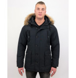 Tony Backer Lange winterjas met grote echte bontkraag