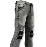 True Rise Grijze spijkerbroek biker jeans 3012