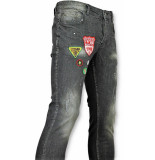 Justing Jeans patches spijkerbroek verfspatten