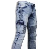 True Rise Biker jeans slim fit biker pocket jeans