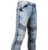 Justing Holed ripped jeans slim fit biker jeans fluted knee