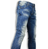 True Rise Jeans slim fit damaged look stitched