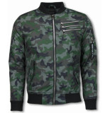 Justing Bomberjack camouflage met 3 ritsen