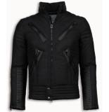 Next Style Gewatteerde winterjas motor jack zwart
