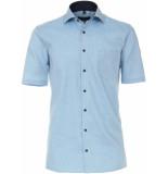 Casamoda Heren overhemd turquoise oxford korte mouwen comfort fit