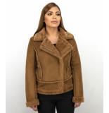 Z-design Bikerjack suede lammy coat bruin