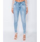 Parisian Frayed hem mid waist skinny jeans blauw