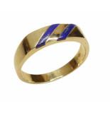 Christian Gouden cachet ring met lapis lazuli