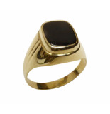 Christian Gouden cachet ring met zwarte lagensteen