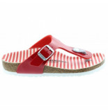 Birkenstock Slipper kids gizeh bf nautical stripes red narrow patent rood