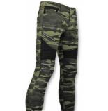 True Rise Army style biker jeans zip