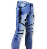 True Rise Coole biker jeans ripped blauw