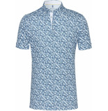 Desoto Polo bloemen print jersey button down slim fit blauw