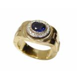 Christian Gouden ring met diamanten en saffier