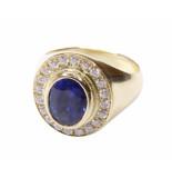 Christian Gouden ring met saffier en diamanten geel goud