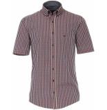 Casamoda Heren overhemd korte mouwen dobby geruit casual fit
