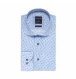 Profuomo Overhemd blauw met dessin